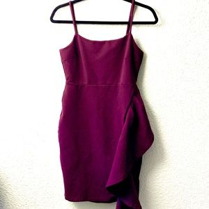 Lulus Burgundy Strappy Side Ruffle Mini Dress M